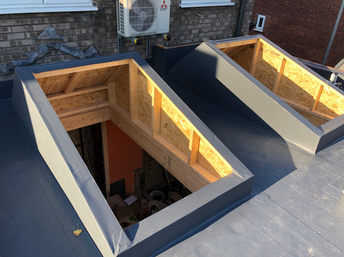Rear extension with two big rooflights to be installed