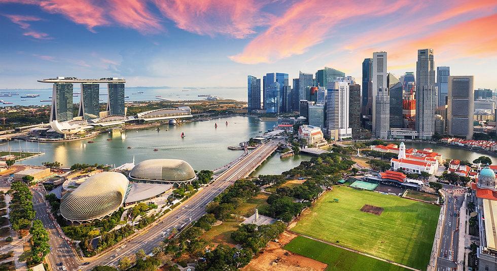 Aerial view of Cloudy sky at Marina Bay
