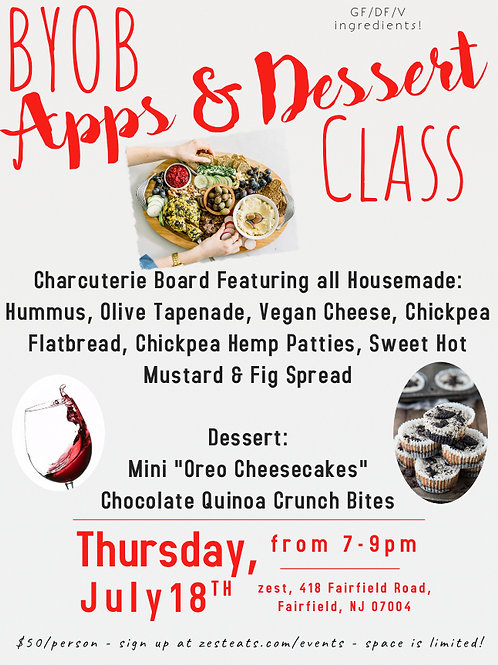 BYOB Apps & Dessert
