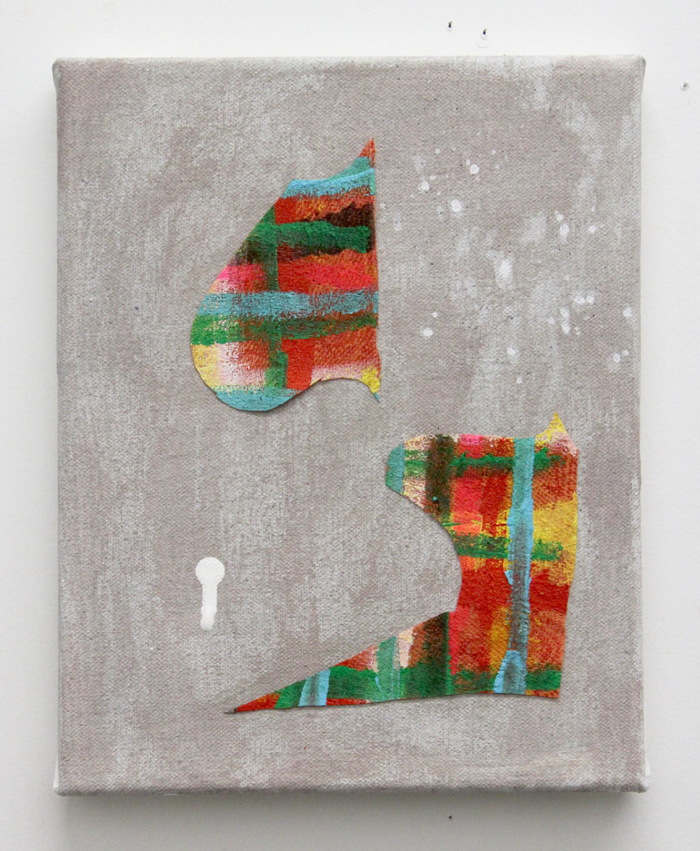 2018-27, acrylic and fabric on canvas, 10x8 inches