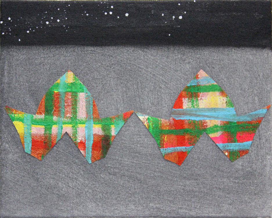 2018-31, acrylic and fabric on canvas, 8x10 inches