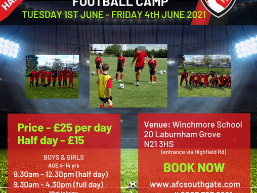 Half term Football Camp now taking bookings