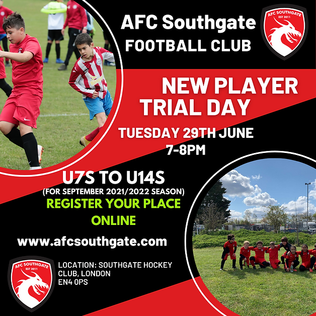 New Player football trial day North London