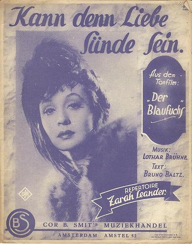 Zarah Leander | Lothar Bruhne | Kann denn Liebe Sunde Sein | Piano | Voc