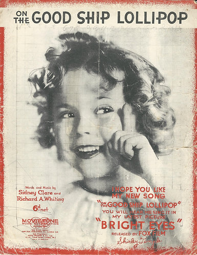 Shirley Temple | On the Good Ship Lollipop | Piano | Vocals