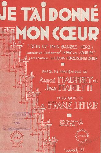 Franz Lehar | Je t'ai donne mon coeur | Chanson