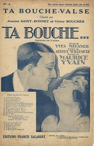 Victor Boucher | Jeanne Saint-Bonnet | Maurice Yvain | Ta Bouche Valse | Chanson