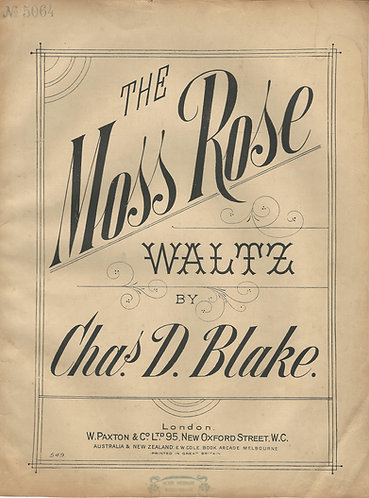 Chas. D. Blake   The Moss Rose Waltz   Piano