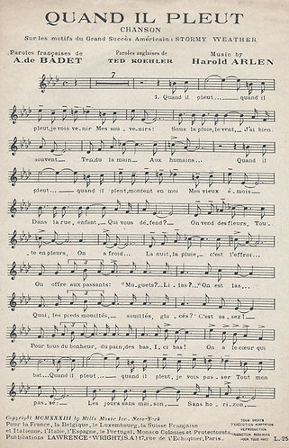 Duke Ellington | Harold Arlen | Quand Il Pleut | Chanson