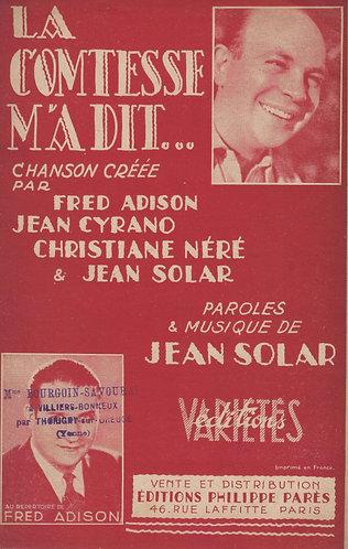 Jean Cyrano | Jean Solar | La Comtesse m'a dit | Chanson