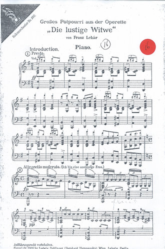 Franz Lehar | Die lustige Witwe | Piano partition for Salon Orchestra