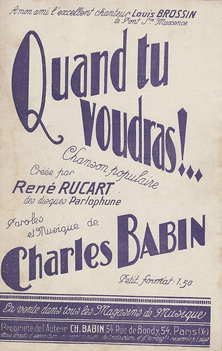 Charles Babin | Quand tu voudras  | Piano