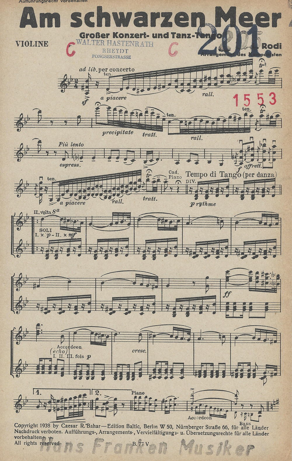 Example of the first page for Violin Solo