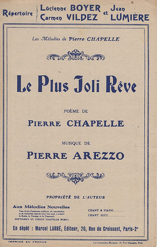 Pierre Arezzo   Le plus joli reve   Chanson