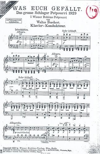 Walter Borchert   Grosses Schlager Potpourri 1929   Piano