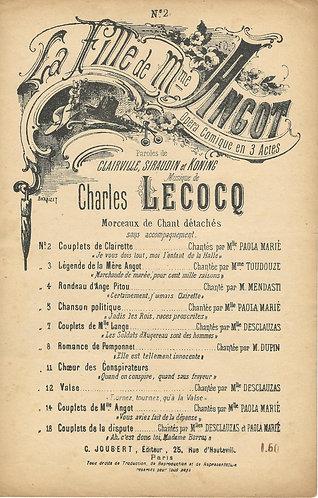 Charles Lecocq | La Fille de Mme Angot nr 2 | Vocals