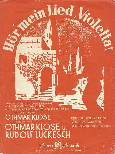 Giuseppe Verdi | Othmar Klose | Hor mein Lied Violetta | Accordion