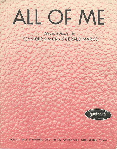 Gerald Marks | All of me | Piano | Vocals