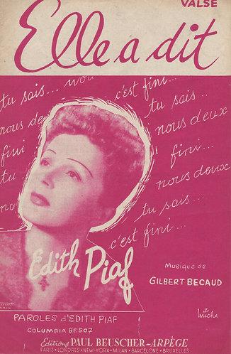 Edith Piaf | Gilbert Becaud | Elle a dit | Chanson