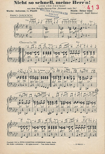 Heino Gaze | Adolf Steimel | Nicht so schnell meine Herr'n | Small Orchestra