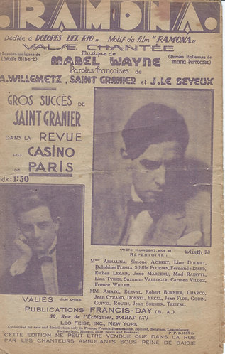 Valies | Mabel Wayne | Saint Granier | Ramona | Chanson