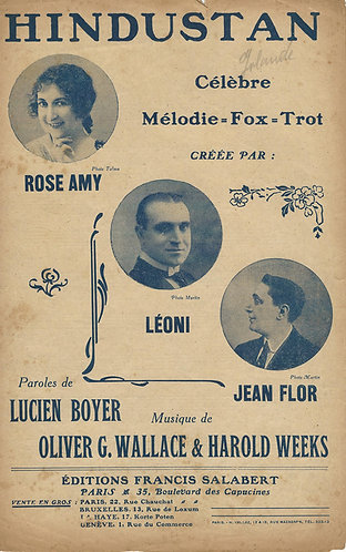 Rose Amy | Jean Flor | Oliver G. Wallace | Hindustan | Vocals