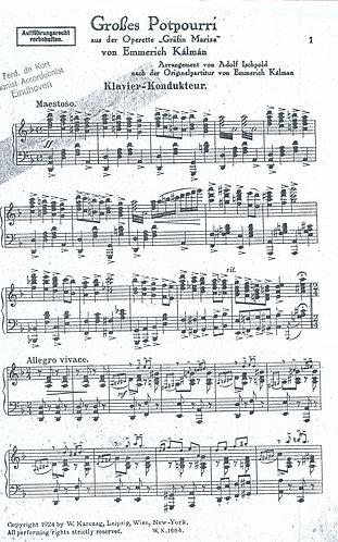Emmerich Kalman   Grosses Potpourri Grafin Mariza   Orchestra