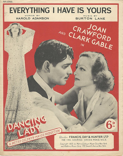 Burton Lane | Clark Gable | Joan Crawford | Everything I have is yours | Piano
