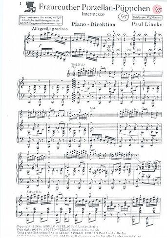 Paul Lincke | Fraureuther Porzellan Puppchen | Piano