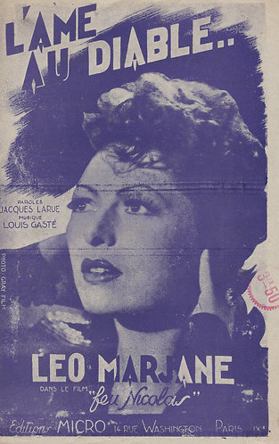 Leo Marjane   Louis Gaste   L'ame au diable   Chanson