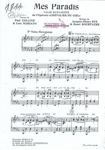 Henri Bourtayre | Jacques Henri Rys | Mes Paradis | Piano