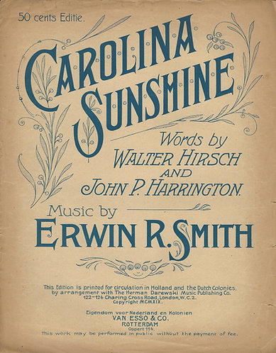 Erwin R. Smith | Carolina Sunshine | Piano | Vocals