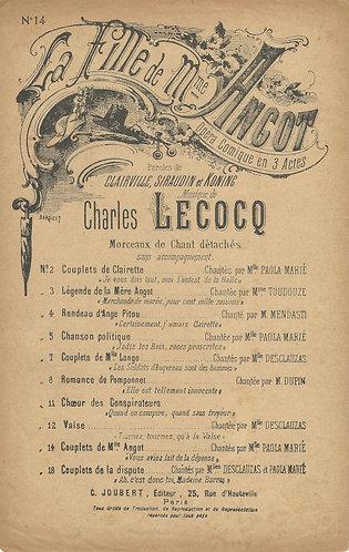 Charles Lecocq | La Fille de Mme Angot nr 14 | Vocals