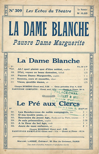 F.A. Boieldieu | Pauvre Dame Marguerite | Vocals
