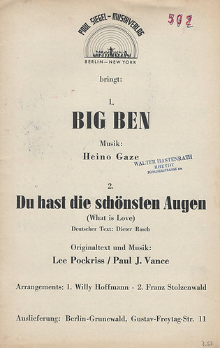 Lee Pockriss | Paul J. Vance | Franz Stolzenwald | Big Ben | Small Orchestra