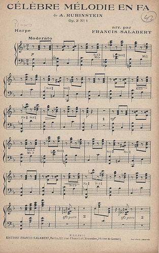 Anton Rubinstein   Celebre Melodie en Fa   Piano   Harpe