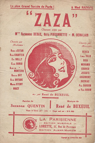 Rene de Buxeuil | Suzanne Quintin | Zaza | Chanson