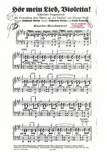 Dithmar Klose | Verdi | Hor mein Lied Violetta | Orchestra