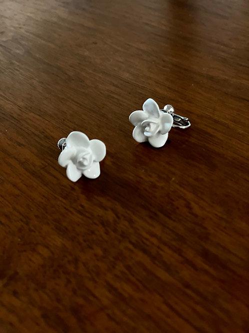 White Flower Stud Earrings