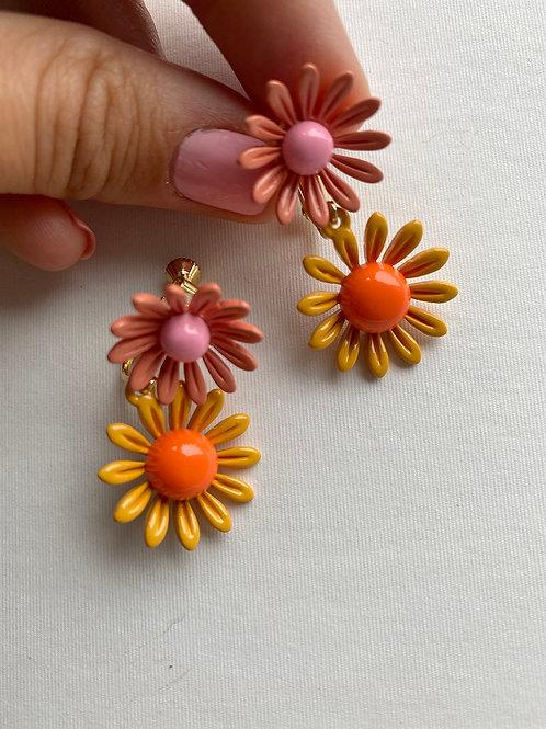Pink & Orange Double Daisy Earrings