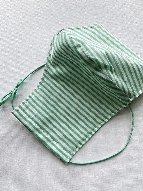 Green & White Striped Mask