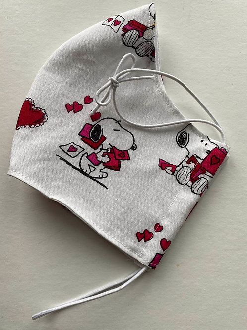 Red & White Peanuts Hearts Mask