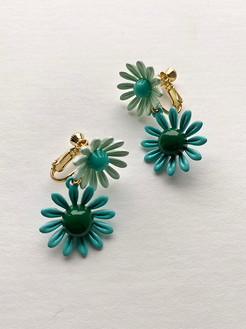Blue & Green Double Daisy Earrings