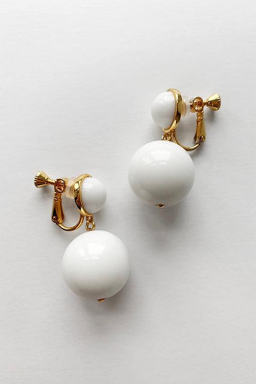 White Double Drop Earrings