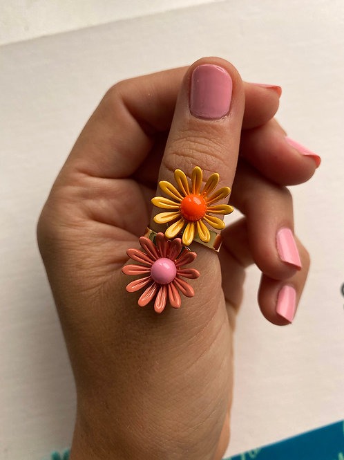 Pink & Orange Double Daisy Ring