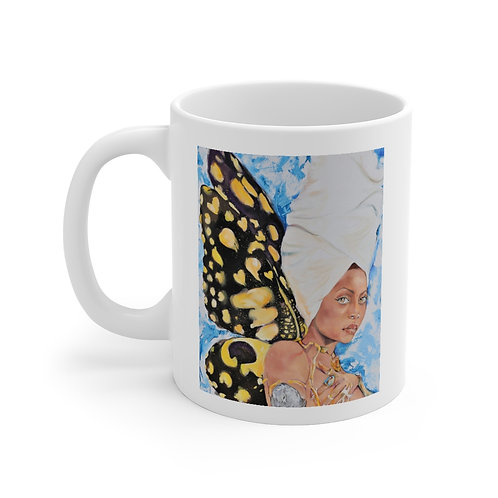 SancarolArt - White Ceramic Mug (Erykah Blue)