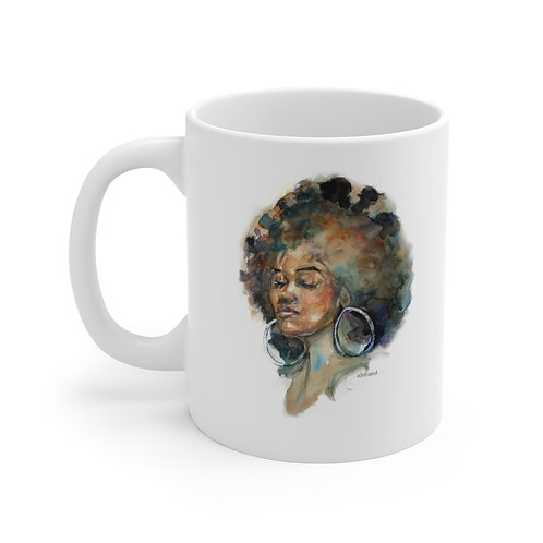 SancarolArt - White Ceramic Mug (Brown Beauty) image of woman's face with curly hair
