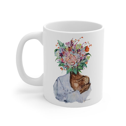 SancarolArt - White Ceramic Mug (Flower Child) 11 oz art flowers images