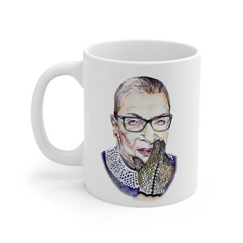 SancarolArt - White Ceramic Mug (The Notorious RBG)