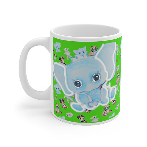 SancarolArt - White Ceramic Mug (Baby Elephant)